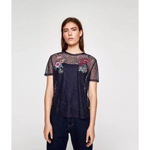 NWT Zara Lace See Through Embroidered Top size L